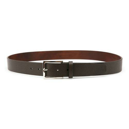 [CORNELIANI]ID BROWN SQUARE BUCKLE LEATHER BELT