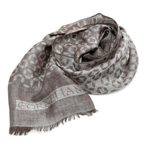 [CORNELIANI]JACQUARD SCARF WITH CIRCLES LOGO BROWN