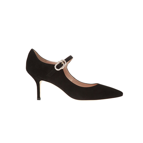 [STUART WEITZMAN]GLENYS CRYSTAL 75 BLACK SUEDE 20SS