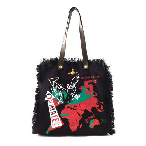[VIVIENNE WESTWOOD] WORLD MAP UTILITY SHOPPER BLACK